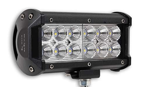 1x LED-Fernscheinwerfer Scheinwerfer Light Bar 7″ 10cm 36 Watt 12x CREE LED Super Hell mit ECE-Zulassung Eintragungsfrei Straßenzulassung