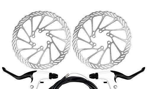 Yorbay Fahrrad Scheibenbremse Set, 160mm Scheiben und vorne hinten Bremse mit BB5 Bremsbeläge und Kabel Schwarz