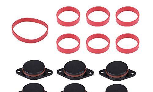 6 * 33mm Auto Aufnahme Diesel Swirl Klappe Rohlinge Reparatur Kit mit Manifold Dichtungen für BMW schwarz blau und rot Color : Black – Manifold Dichtungen