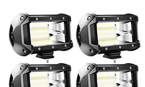4 X 72W LED arbeitsscheinwerfer Offroad 10-30V Quadrat Scheinwerfer Weiß 5400LM Arbeitslicht Flutlicht für SUV UTV ATV Arbeitslampe