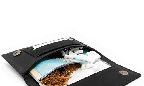 Tabak-Beutel Leder, Set inkl. Gizeh Papers – Schwarz – Dreher-Tasche mit Magnetverschluss, Filterfach & Blättchen-Halter – Wolfstrøm Tabaktasche Halona