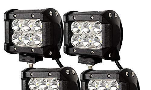 4 X 18W LED Arbeitsscheinwerfer Light Bar Flutlicht Offroad Scheinwerfer 12V 24V Zusatzscheinwerfer SUV, UTV, ATV Reflektor Arbeitslicht Rückfahrscheinwerfer