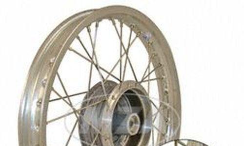 Speichenrad 1,5×16 Zoll – Alufelge, poliert + Edelstahlspeichen Radnabe: Graugussbremsring, abgedrehte Flanken