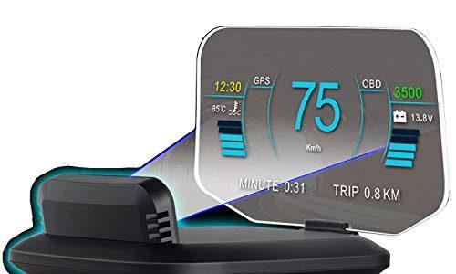 6″ HUD OBD2 GPS Dual System Tachometer Kilometerstand Diagnose Auto Obd2 Display Kopf High Flow Daten Alarm Überdrehzahl Temperatur Druck Turbine Kompatibel für alle Fahrzeuge Beschleunigungstest Höhe