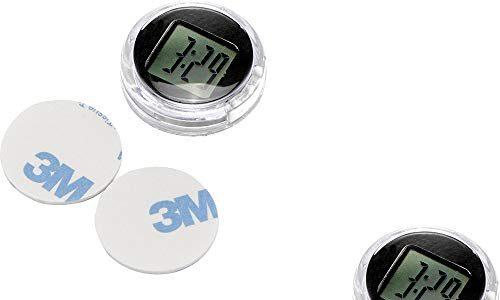 OurLeeme Mini Wasserdichte Stick-On Motorrad lenkeruhr Fahrrad Uhr Motorrad Uhr digitaluhr Mini digitaluhr Bis zu 1 Jahr Akkulaufzeit Dia. 1,1″ 2PCS