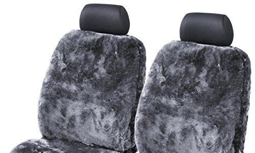 Vollbezug mit allgemeiner Betriebserlaubnis ABE Universalgröße Farbe Anthrazit, 2 Bezüge – kein Patchwork – 2Stk. Torrex® Lammfell-Sitzbezug