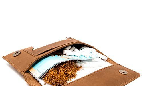 Tabak-Beutel Leder, Set inkl. Gizeh Papers – Whiskey – Dreher-Tasche mit Magnetverschluss, Filterfach & Blättchen-Halter – Wolfstrøm Tabaktasche Halona