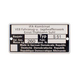 bis 1990 – IFA Kombinat VEB Fajas – Typenschild – Simson Mokick S51
