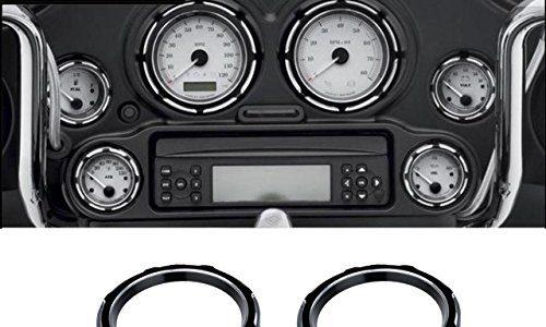 TUINCYN 6 STÜCKE Schwarz Tacho Lünetten Abdeckungen Aluminium Instrumentenschutzabdeckung Sets Motorrad Decorective Kit Sets für Harley Street Glide 1996-2013