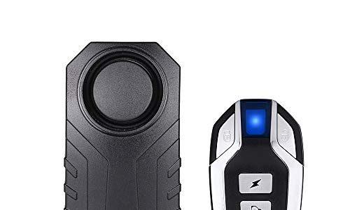 Mengshen Drahtlose Motorrad Fahrrad Alarm, Diebstahlsicherung Alarm Mit Fernbedienung, IP55 Wasserdicht, 113 dB Super Laut Schwarz