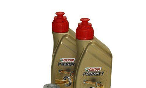 Öl Wechselset 2 Liter Castrol SAE 10W-40 Power 1 4T inkl. Ölfilter Hiflo HF131 für Suzuki, Kreidler, Sachs, Hyosung GA 125, RT 125, GT 250