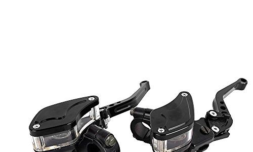 CNC Aluminium 7/8″22mm Motorrad Hydraulische Bremse Kupplungshebel Set mit Hauptbremszylinder Reservoir Schwarz