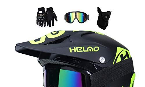 MRDEER Motocross Helm, Adult Off Road Helm mit Handschuhe Maske Brille, Unisex Motorradhelm Cross Helme Schutzhelm ATV Helm für Männer Damen Sicherheit Schutz, 5 Stile Verfügbar,A,L