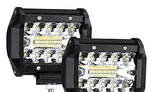 Auto Zusatzscheinwerfer LED, Haofy 2x 70W LED Arbeitsscheinwerfer 12v 7200LM 6000K IP68 Wasserdicht Fernlicht, SUV, UTV, ATV Nebelscheinwerfer, Offroad Scheinwerfer
