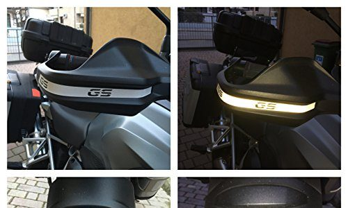"Reflektierende ""GS""- Aufkleber, Silber –Handschutz + Schutzblech"