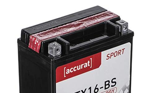 Accurat Motorradbatterie YTX16-BS 15Ah 240A 12V AGM Starterbatterie in Erstausrüsterqualität rüttelfest leistungsstark inkl. Säurepack wartungsfrei