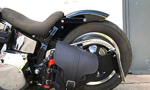 HADES BLACK Schwingentasche Harley Davidson Softail Schwinge HD schwarz Getränkehalter Orletanos Leder Tasche Motorrad Softail Fatboy Heritage Bikertasche Echtleder Slim Starrahmen Rahmen Rahmentasche