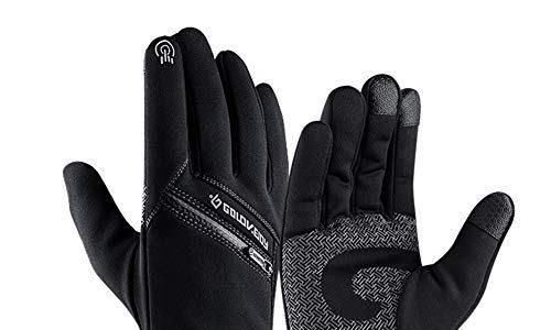 EXTSUD Touchscreen Handschuhe Winter Fahrradhandschuhe mit Touchscreen Funktion Unisex Warme Laufhandschuhe Sporthandschuhe für Radfahren Jagd Outdoor Damen und Herren Schwarz L