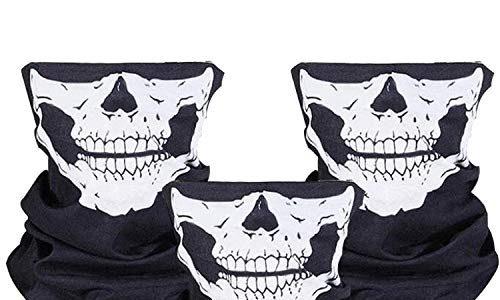 ZKSM 3 Stück Nahtlos Schädel Gesicht Schlauch Maske Motorrad Gesichtsmaske für Motorrad, Fahrrad, Wandern, Ski, Halloween Weiß und Schwarz