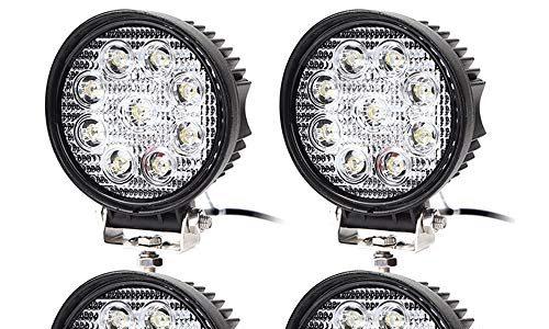 4 pcs Arbeitsscheinwerfer 27W Scheinwerfer LED Wasserdicht Zusatzscheinwerfer mit 9 LEDs 2430 Lumen Reflektor Abstrahlwinkel 30 Grad für SUV, ATV, Offroad, Auto, Boot, Runde, 6000-6500K