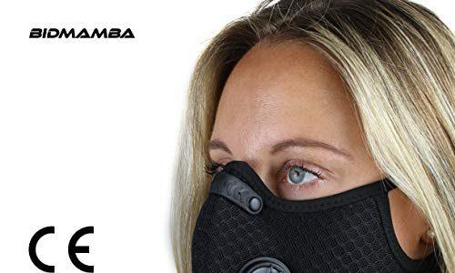 BidMamba Staubmaske Atemschutzmaske Mundmaske Fahrradmaske | Aktivkohle Filtration Auspuff Gas Anti Pollen Allergie Mit Ventil Pm 2.5 | Motorrad Radsport Training Running Radfahren Mesh-Material