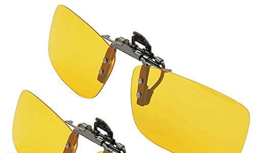 Splaks Sonnenbrille Aufsatz 2-Stück Clip on Plarisiert Sonnenbrille Flip polarisiert gegen Licht ideal für Nachts Fahren Unisex Frauen und Männer Brillenträger 2 Gelb