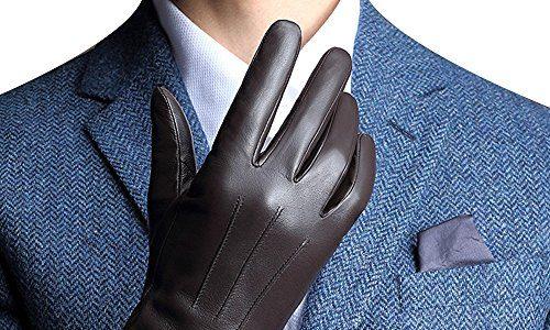 FLY HAWK Winter Handschuhe aus Echtem Leder Herren Lederhandschuhe für Touch Screen geeignet, warm gefütterte klassische Handschuhe mit Geschenk-Verpackung, Schwarz/Braun