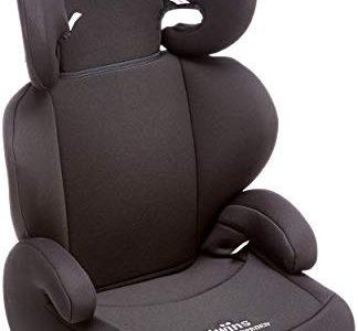 Twins Kindersitz mit verstellbarer Kopfstütze und Rückenlehne, Gruppe 2/3 15-36 kg, ab 3,5 bis 12 Jahre, schwarz