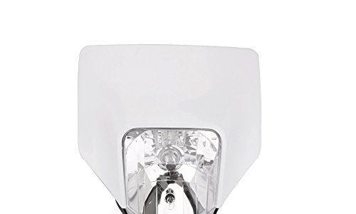 JFG RACING Weiß Universal Motorrad Halogen Scheinwerfer Kopf Lampe Verkleidung Street Fighter Maske für Husqvarna Motocross Enduro Supermoto