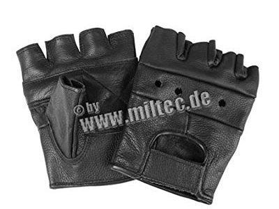 Mil-Tec Lederhandschuhe ohne Finger Schwarz/S