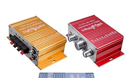 Ndier 1 Packung Mini Verstärker Super Bass Hallo Fi Stereo Audio Verstärker Booster für Auto Moto Start mit DC 12V Stromversorgung, zufälliger Farbe Autozubehör