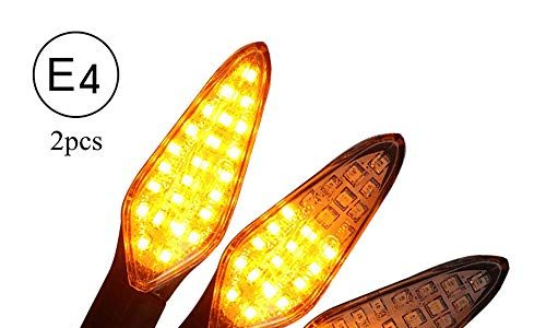 CCAUTOVIE LED Blinker Motorrad E Geprüft Universal LED Blinker Tagfahrlicht Motorrad Blinker Motorrad LED Lauflicht Bernstein E4, 2 Stück