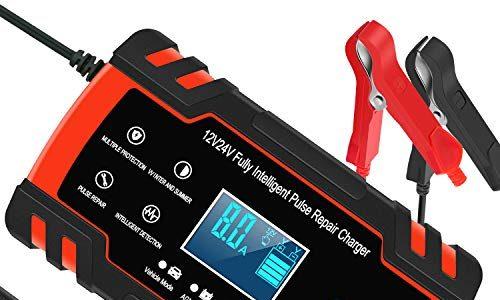 InThoor Kfz-Ladegerät, 12 V / 24 V 8 A, intelligentes Automatik-Ladegerät für Auto, Motorrad, LKW, AGM, Batterie mit LCD-Display