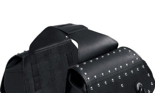 QBag Motorrad-Satteltaschen Kunstledersatteltaschenpaar 09 mit Nieten, pflegeleicht, widerstandsfähig, wetterfest, Lange Haltbarkeit, Reißverschluss-Hauptfächer, Einschubtaschen, Schwarz, 30 Liter