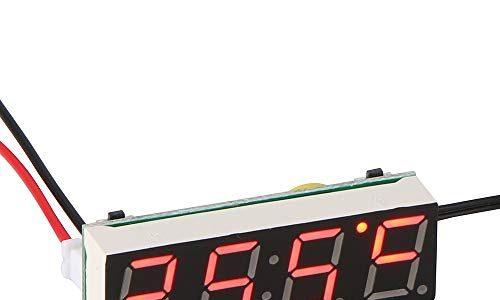 Auto Elektrische Uhr, ABEDOE 3 in 1 Uhr Thermometer Voltmeter Digital Timer Uhr Led-anzeige Auto Timer Mini Tragbare Auto Uhr Rot