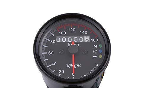 Keenso 12V LED KMH Kilometerzähler Universal 0-160km/h Motorrad Kilometerzähler Tachometer Meter EinzelindikatorSchwarz